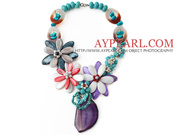 Turquoise and Agate and Shell Flower Necklace Is Sold